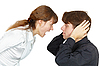 ID 3149782   Man does not want to listen cries of women   High resolution stock photo   CLIPARTO