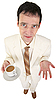 Young man in white suit with coffee | 免版税照片