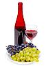 레드 와인, 유리 및 포도의 병 | Stock Foto