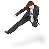 Fighting businessman kicked in jump | Stock Foto