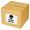 Photo 300 DPI: Cardboard box with skull and cross-bones sign