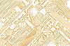 工业电子图形金色 - 白色背景   光栅插图