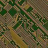 工业高科技的金色 - 绿色背景   光栅插图