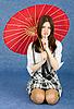 파란색에 빨간색 동양 우산 소녀 | Stock Foto