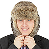 Russian businessman in fur hat  | Stock Foto