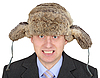 Angry Russian businessman in fur hat | Stock Foto