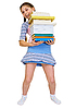 Photo 300 DPI: Schoolgirl has large stack of textbooks