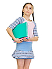 Photo 300 DPI: Schoolgirl has large armful of books