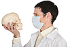 Student medical school in mask looks at skull | Stock Foto