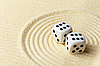 Dices on sand surface - abstract art composition | Stock Foto