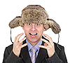 Emotionale Mann mit Hut auf dem Kopf im Winter   Stock Foto