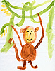 Drawing made by child - Monkey and green lianas | Stock Illustration
