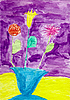 Children`s drawing made - flowers in vase | Stock Illustration