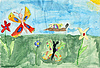 Photo 300 DPI: Children drawing on paper - butterflys