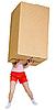 매우 무거운 갈색 골 판지 상자를 들고 여자 | Stock Foto