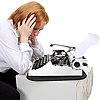 Woman and typewriter | Stock Foto