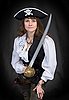 Photo 300 DPI: The girl - pirate with sabre in hands