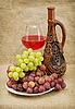 ID 3165828 | Keramische Flasche, Trauben und Rotwein | Foto mit hoher Auflösung | CLIPARTO