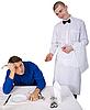 Kelner i gość restauracja   Stock Foto