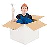 Young man in box | 免版税照片