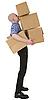 男子持堆纸箱 | 免版税照片