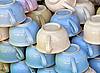 Photo 300 DPI: Old-fashioned ceramic chamber pots on the market