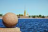Peter and Paul Fortress. Oppositely banks of Neva | Stock Foto