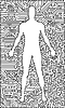 Vector clipart: Silhouette of man in an electronic tech background