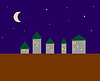 Vector clipart: Stylized night city - five houses