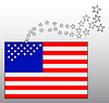 Vector clipart: Conceptual American flag with departing stars