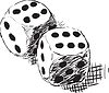 Vector clipart: Rough monochrome sketch - two dices