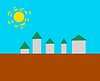 Vector clipart: Stylized small town -