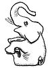 Vector clipart: simplified monochrome drawing - elephant