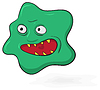 Vector clipart: Evil scary green microbe - funny