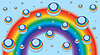 Vector clipart: Background for business card with rainbow and drops