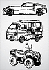 Vector clipart: Three vehicles for different purposes -
