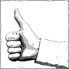 Vector clipart: Hand with thumb up gesture