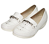 Women`s white leather shoes | Stock Foto