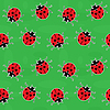 Vector clipart: Seamless background - ladybugs on green