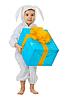 Photo 300 DPI: Child dressed as rabbit with jumbo gift