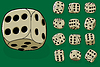 Vector clipart: Set of old dices on green -