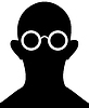 Silhouette of person with eyeglasses -