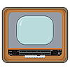 Vector clipart: old TV set with wooden case