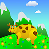 Vector clipart: Cow on mountain meadow.