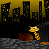 Vector clipart: Cat in night street