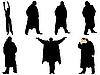 Векторный клипарт: Коллекция силуэты мужчины в пальто.
