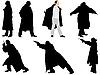 Eine Sammlung von Silhouetten von Gangstern.