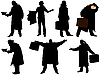 Vector clipart: silhouettes of men in cloak with suitcase