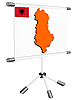 Vector clipart: display with silhouette map of Albania