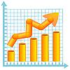 Векторный клипарт: Диаграмма бизнес цвета со стрелками.